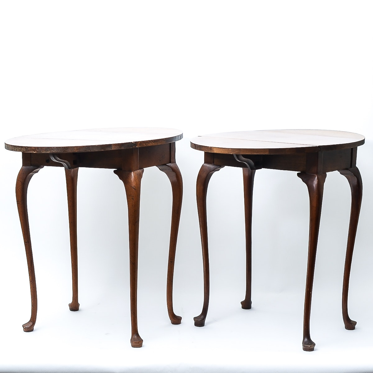 Queen Anne Style Drop-Leaf Side Tables by Baker Furniture