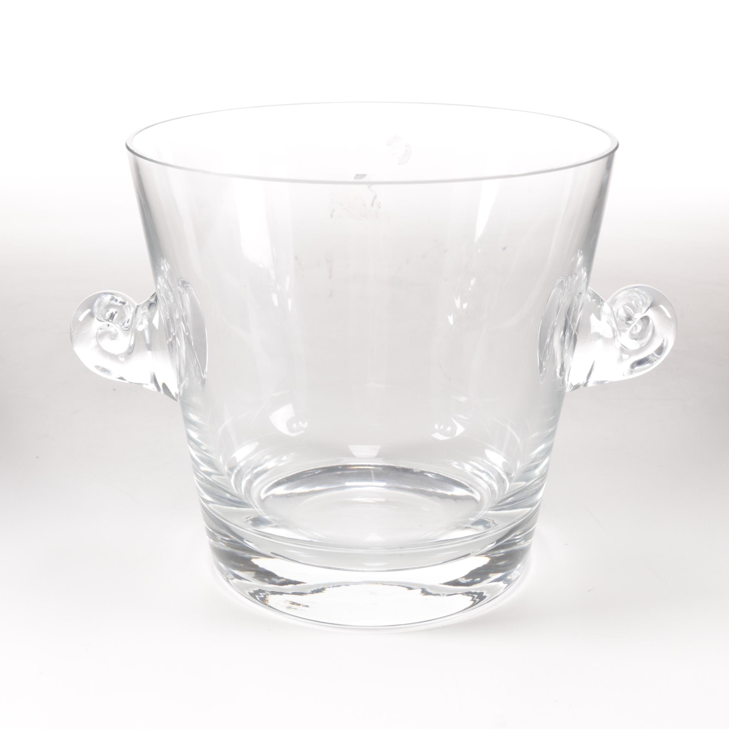 Tiffany & Co. Scroll Handled Crystal Ice Bucket