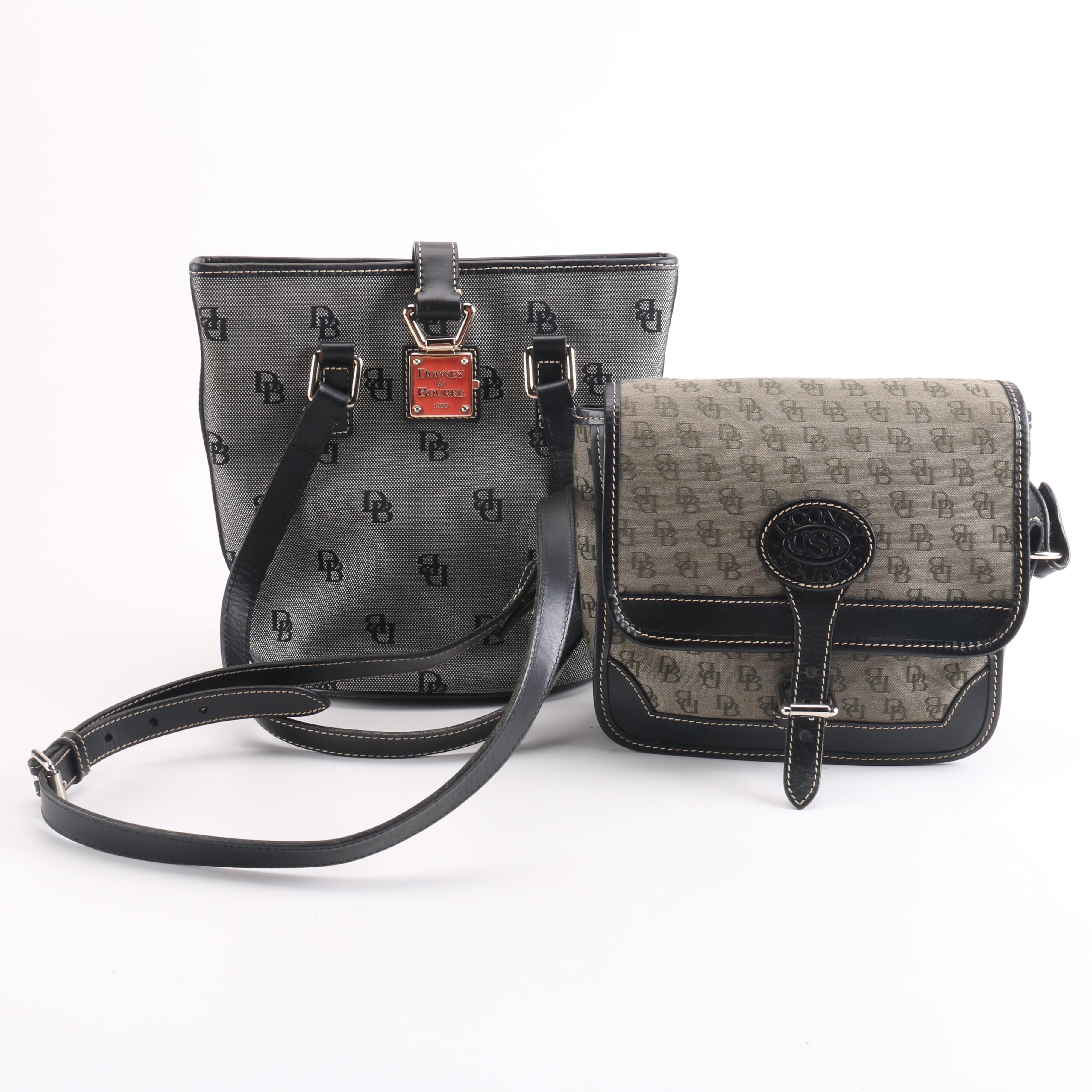 Dooney & Bourke Signature Jacquard and Black Leather Handbags
