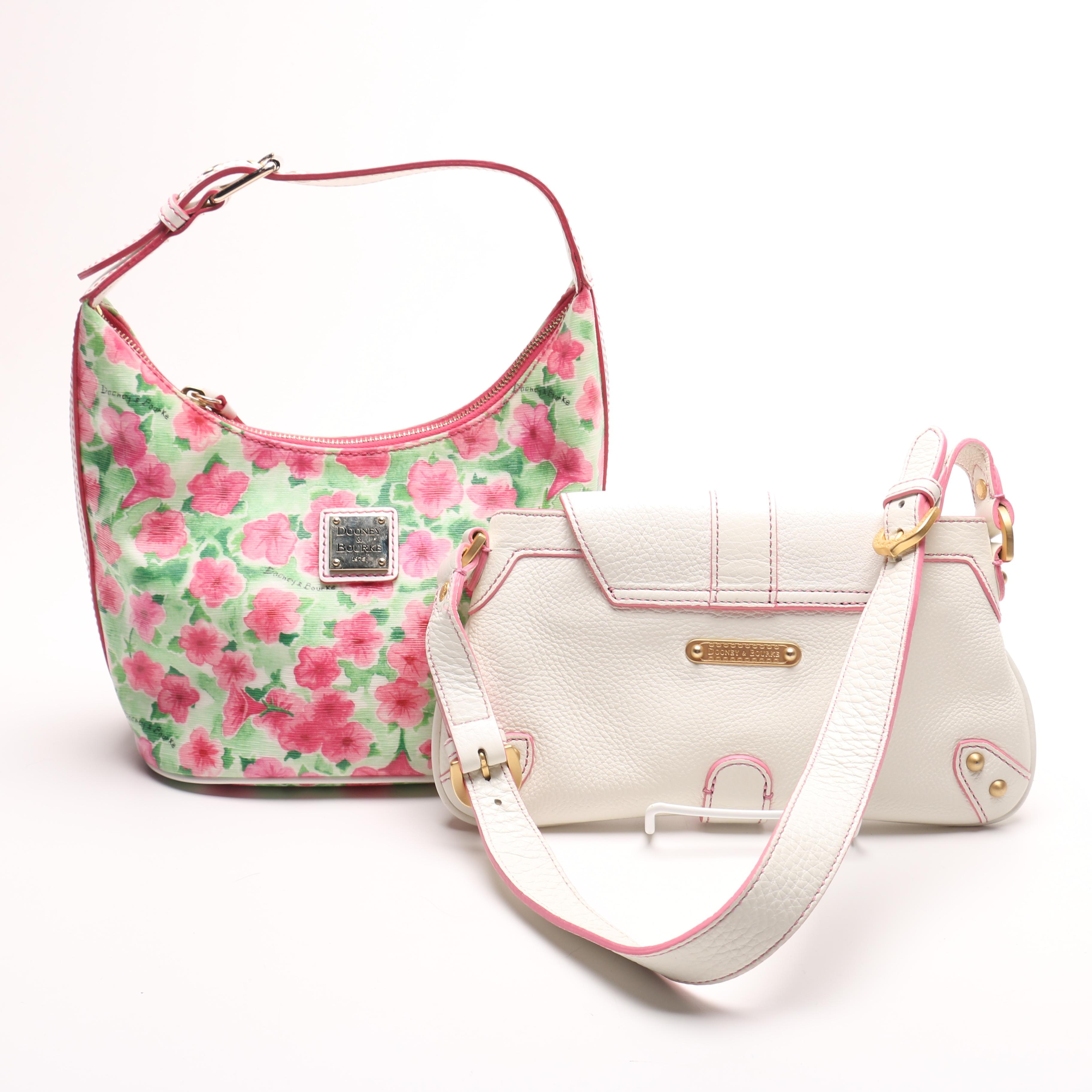 Dooney and Bourke Pink Petunia and White Leather Mini Slip Flap