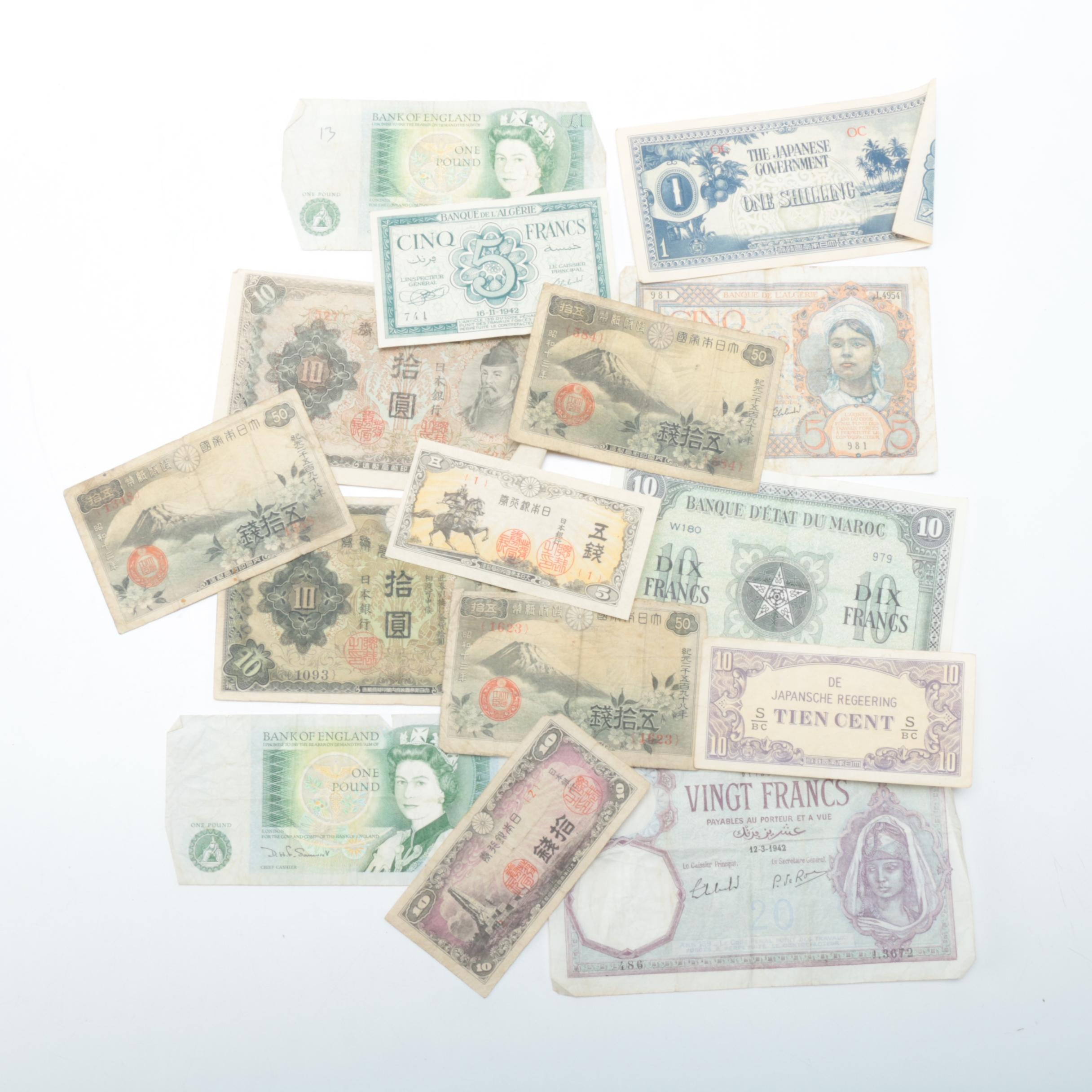 Assorted Foreign Paper Currency Collection
