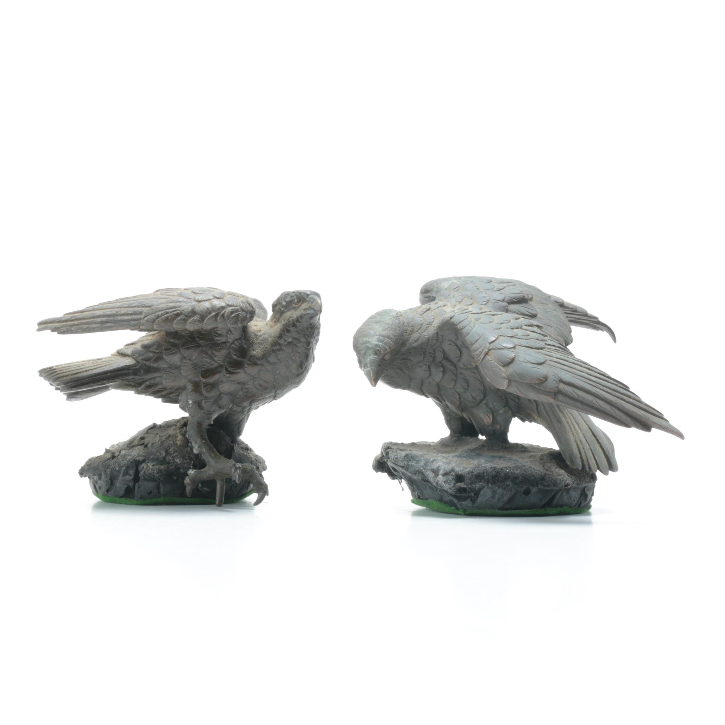 Metal Covered Birds of Prey Figurines
