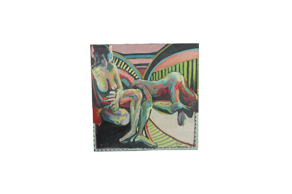 Acrylic Painting on Canvas Abstract Figural Scene