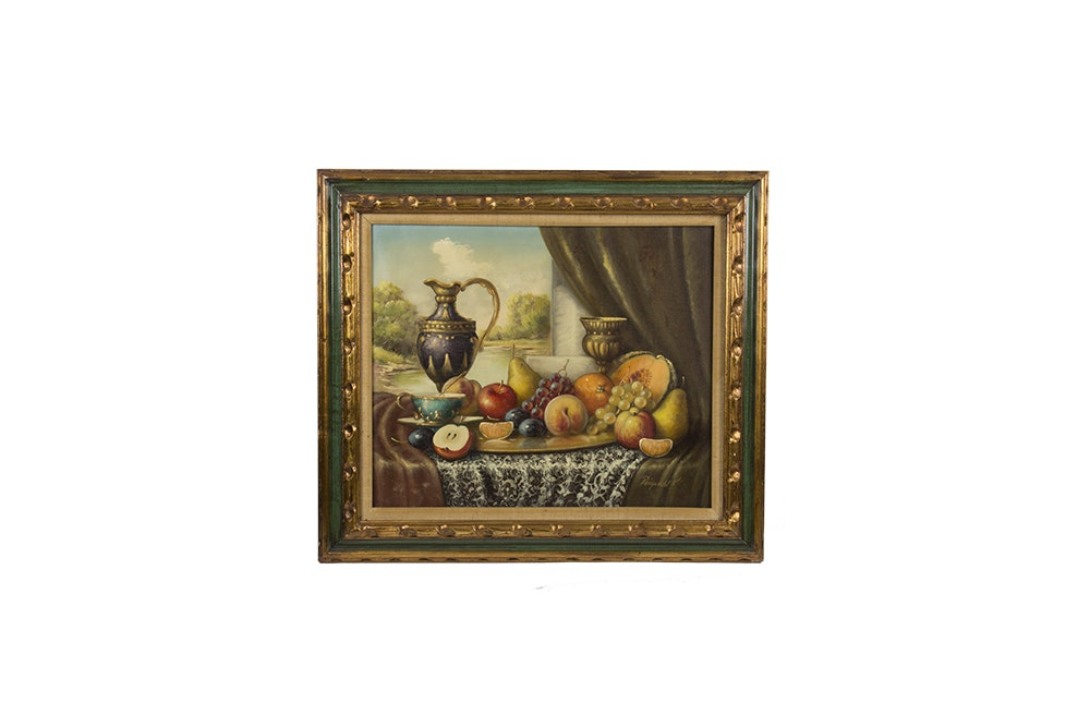 Johan Karoly Reinprecht Still Life Oil Painting on Canvas