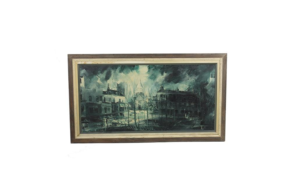 Nicolas Auburtin Oil Painting on Canvas of Montmartre