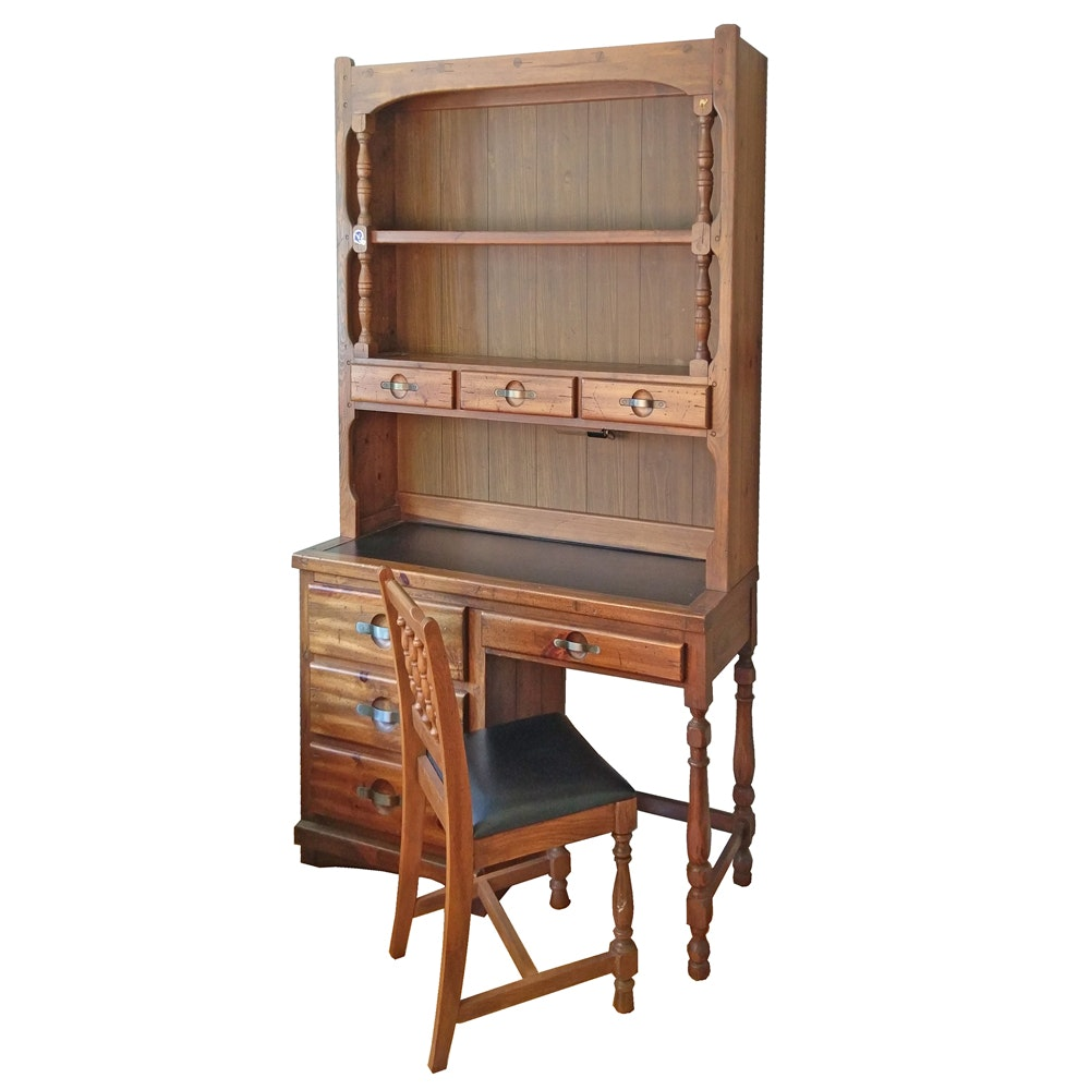 Vintage Desk and Hutch by Young-Hinkle With Oak Chair
