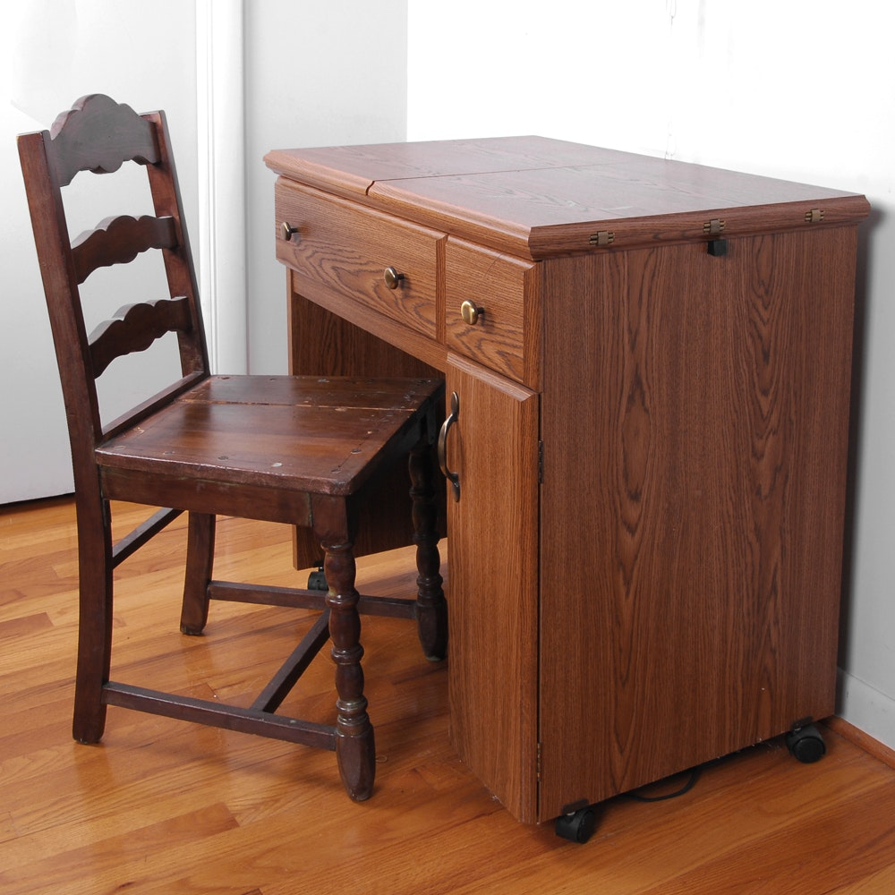 Kenmore 28 Sewing Machine in Desk with Vintage Ladder-Back Chair
