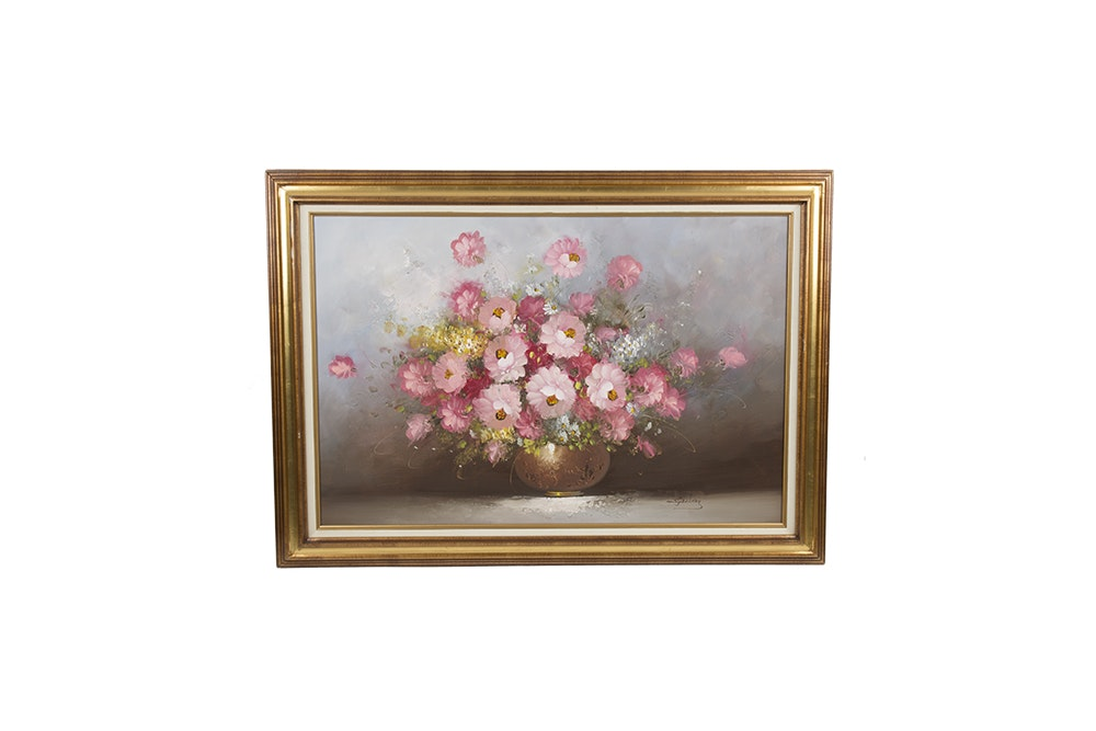 S. Goldberg Oil Painting on Canvas of Floral Still Life