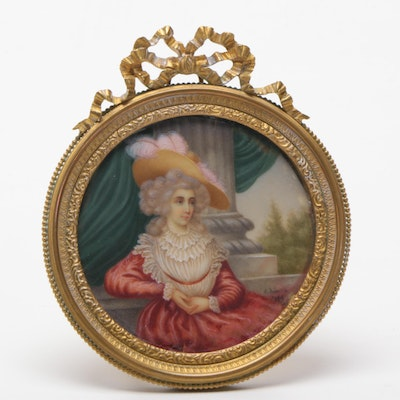 C. Roberts Oil on Wax Miniature Portrait of a Lady