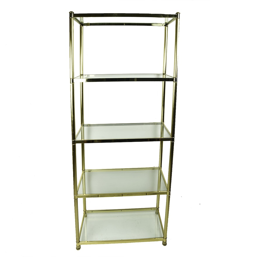 Vintage Brass and Glass Shelving Unit : EBTH