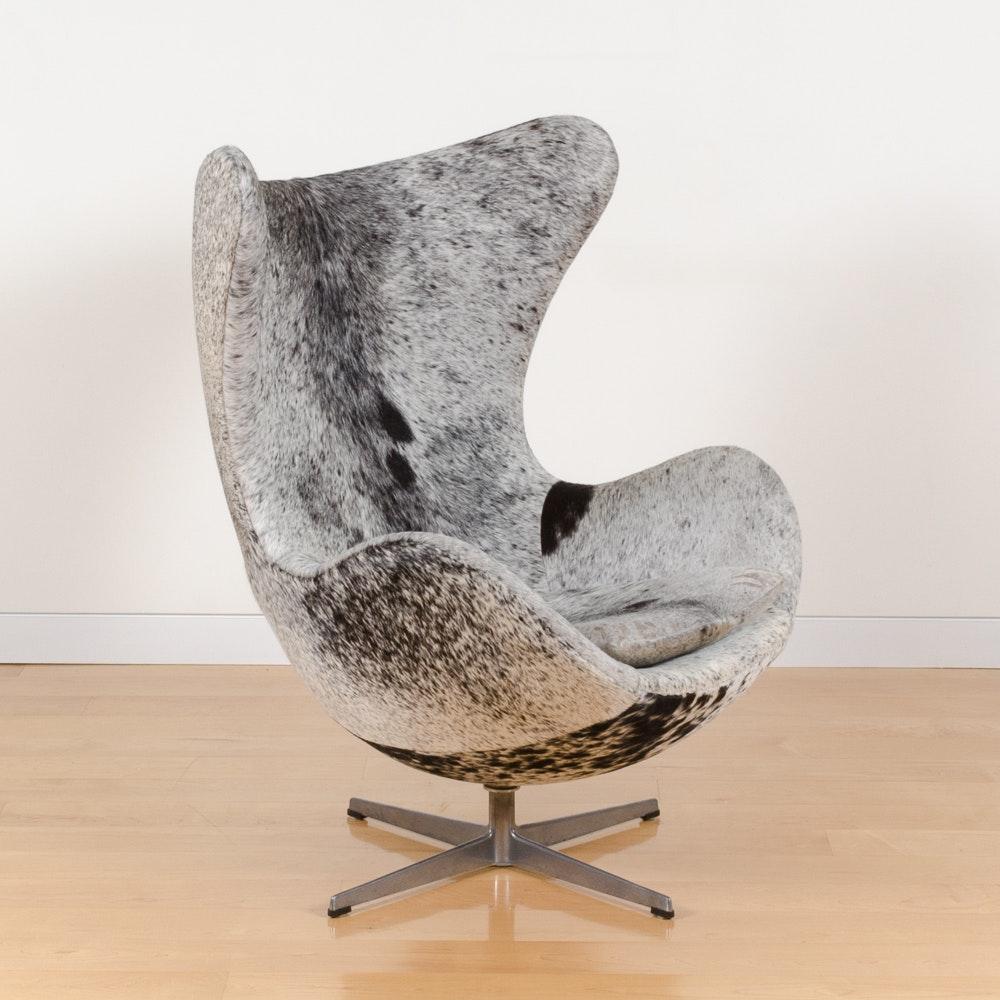 Arne Jacobsen Style Cowhide Egg Chair ...