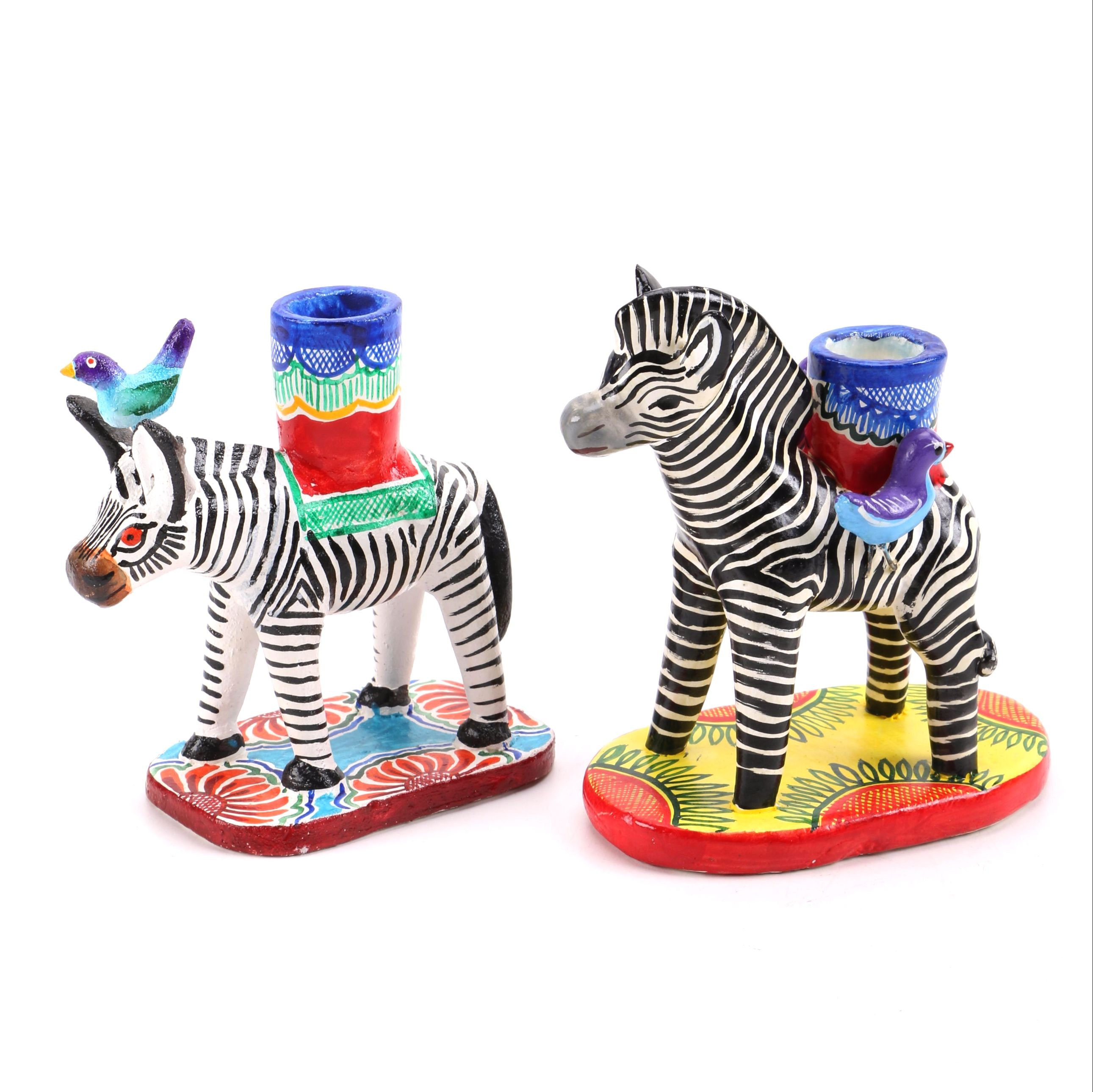 Mexican Ceramic Zebra Figurine Candle Holders