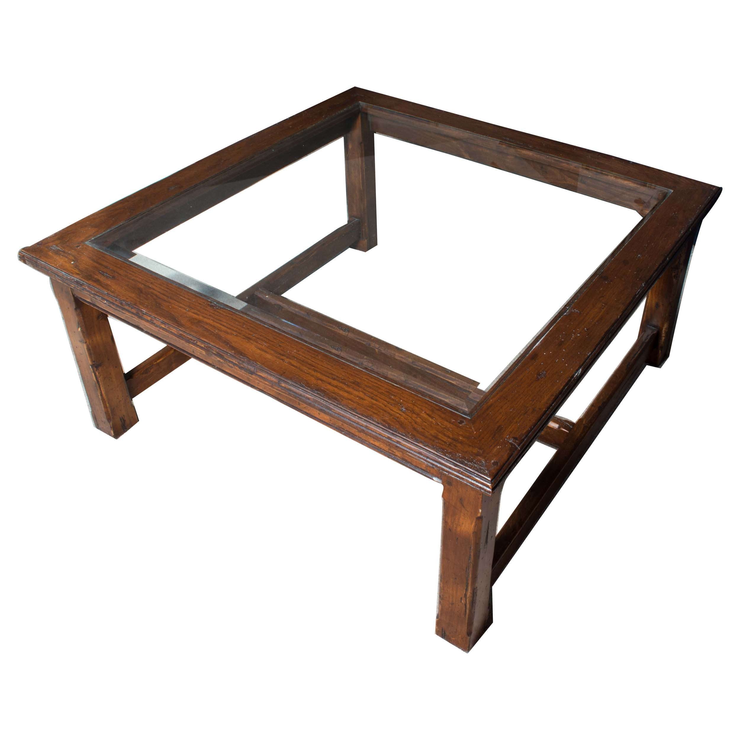 Square Oak Coffee Table With Beveled Glass Panel Insert ...