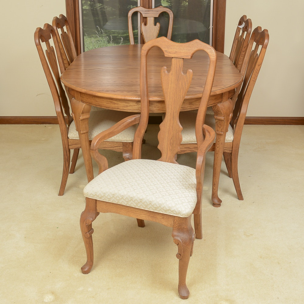 Queen Anne Style Dining Table And Chairs By Cochrane Furniture ...