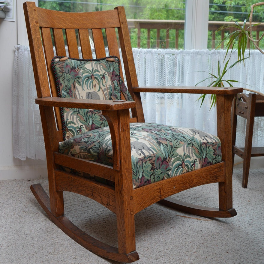 Antique L. & J. G. Stickley Mission Style Oak Rocking Chair ... - Antique L. & J. G. Stickley Mission Style Oak Rocking Chair : EBTH