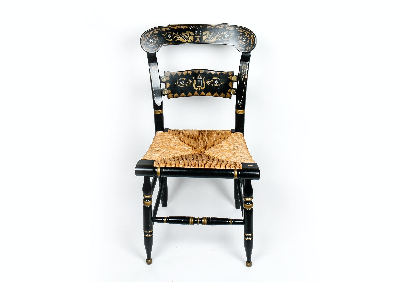 Delicieux Vintage Rush Seat Ethan Allen Button Back Hitchcock Chair ...