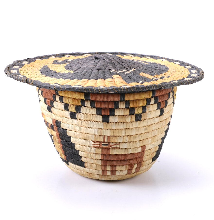 Woven Disc Basket : Hopi style wicker coil eagle and antelope basket ebth