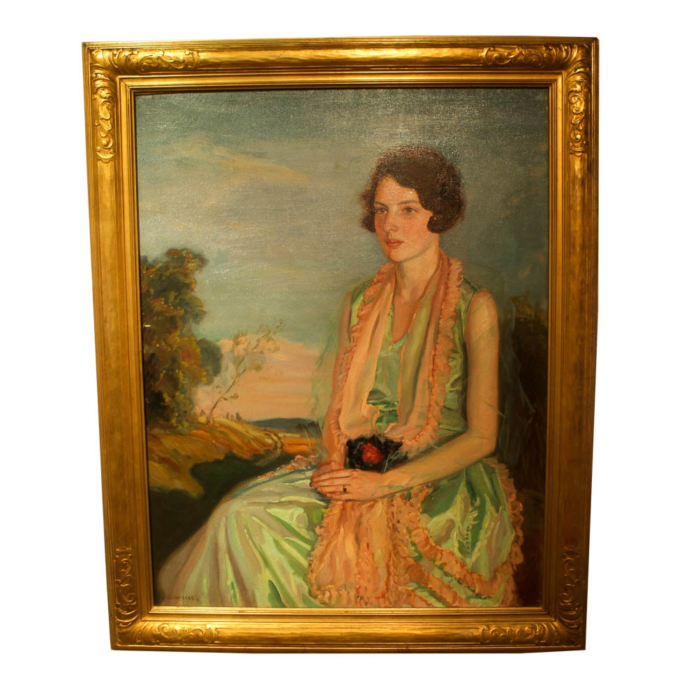 "Allan Barr Oil Painting on Canvas ""Portrait of Mary Lee Logan"""