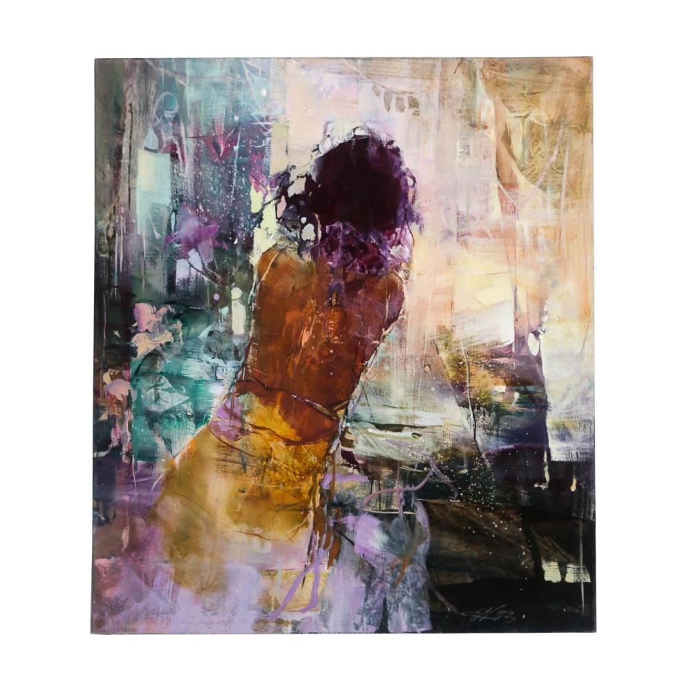 """Karin Völker Original Abstract Painting """"Spanish Lady"""""""