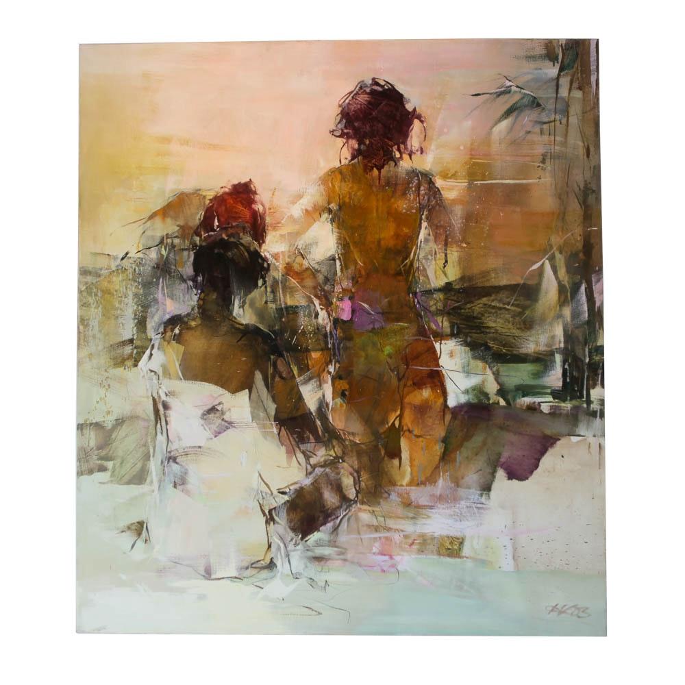 "Karin Völker Original Oil Painting on Canvas ""At the Oasis"""
