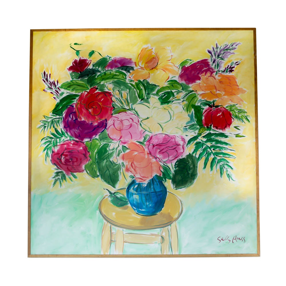 """Sally Huss Painting """"Bowl of Roses"""""""