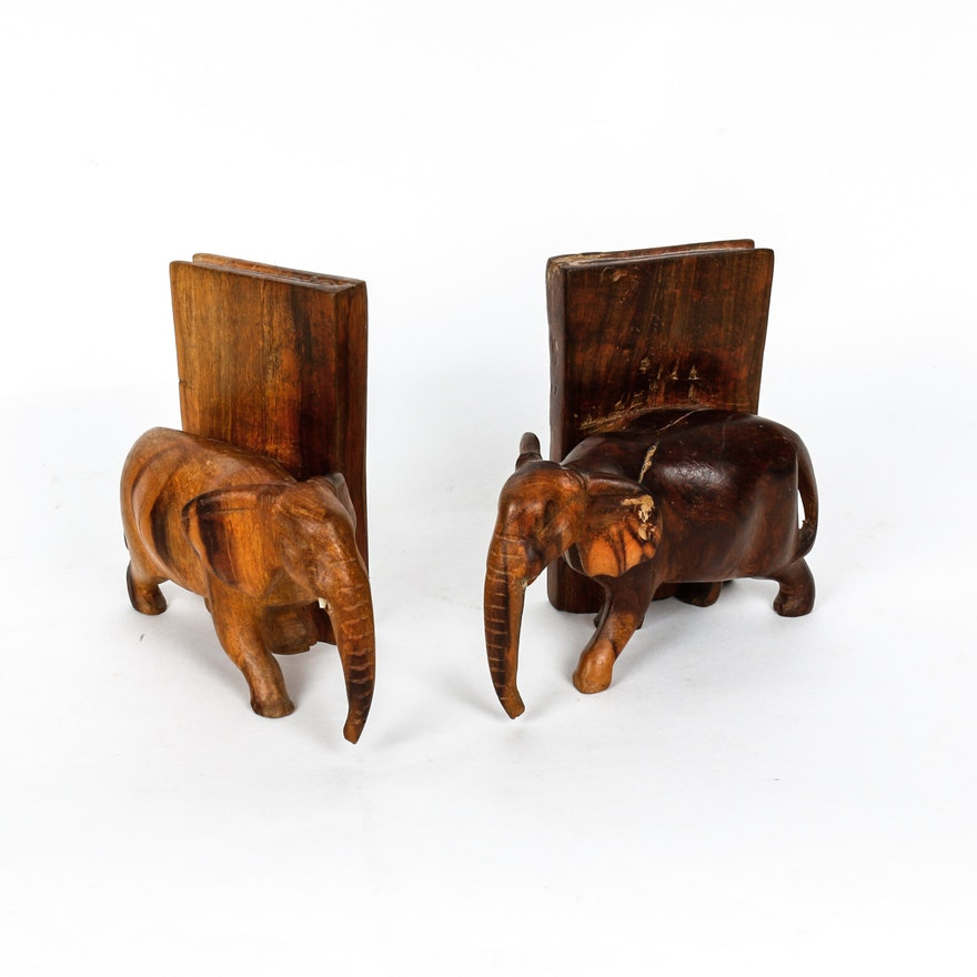 Pair of Wooden Elephant Bookends