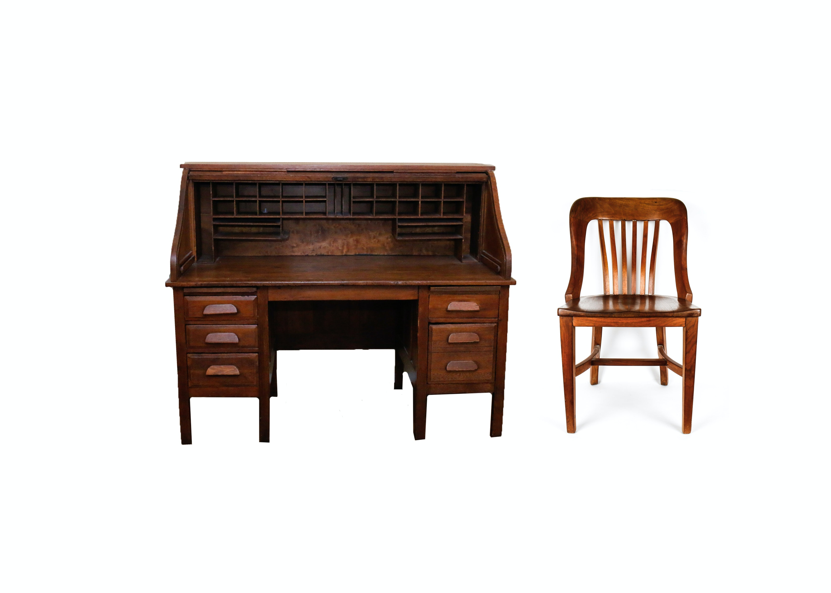 Vintage Roll Top Desk With Matching Chair Ebth