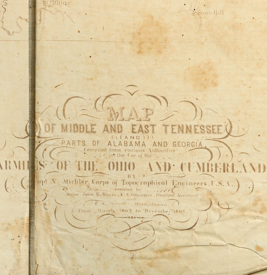 1862 Civil War Map Of Tennessee By N Michler