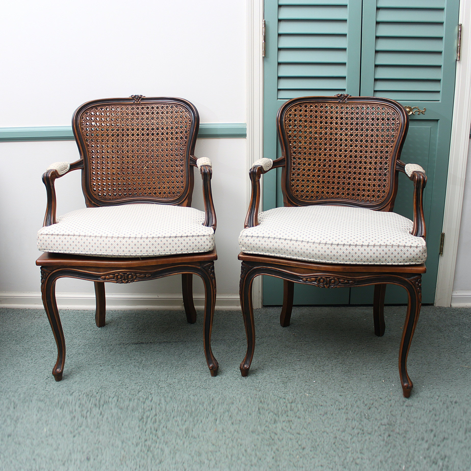 Provincial Louis XV Style Caned Fauteuils