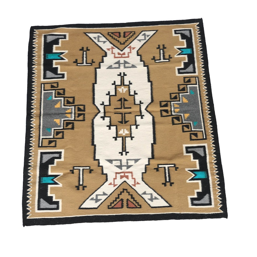 Vintage Navajo Hand Woven Wool Rug With Central Design