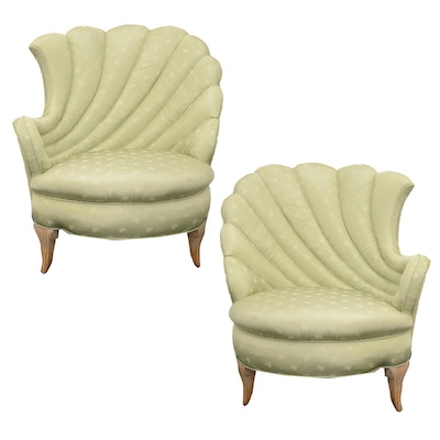 Pair of Scallop Upholstered Lounge Chairs