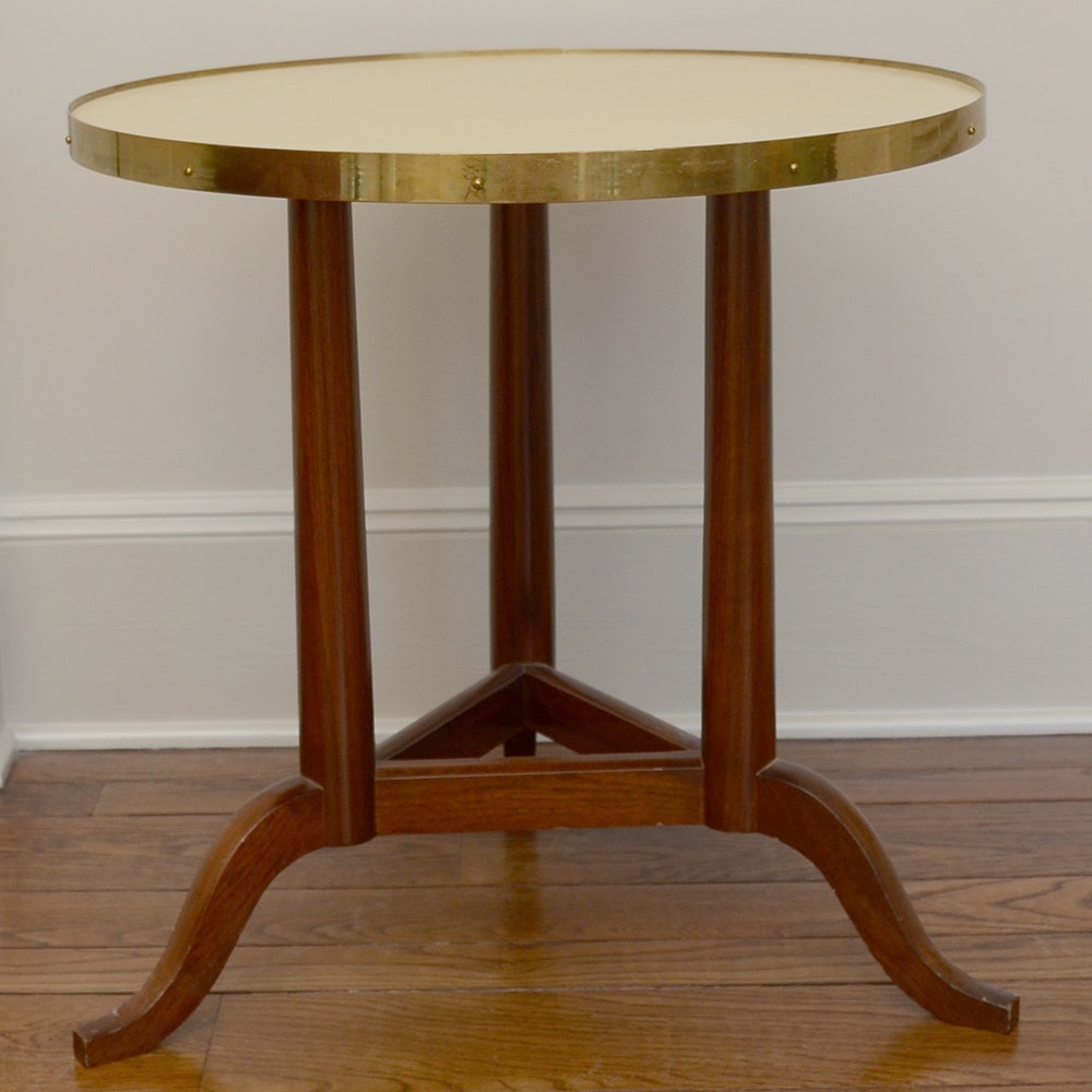Classical Style Round Side Table with Metal Edge
