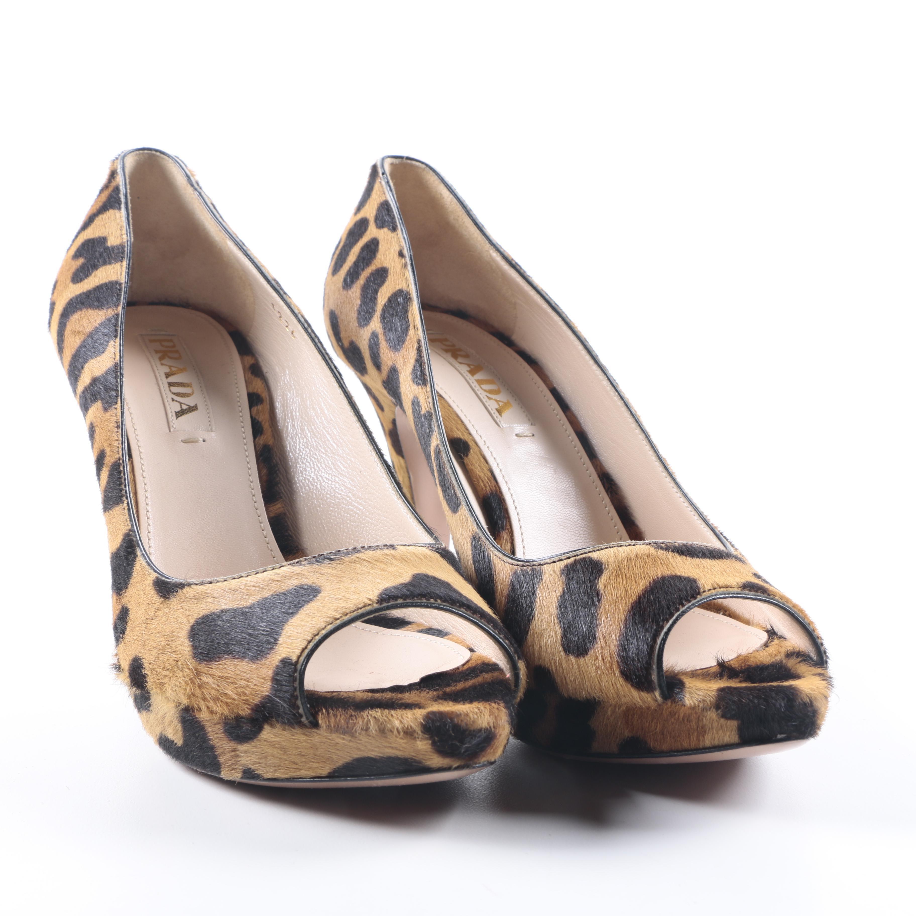 Prada Leopard Print Cowhide Pumps