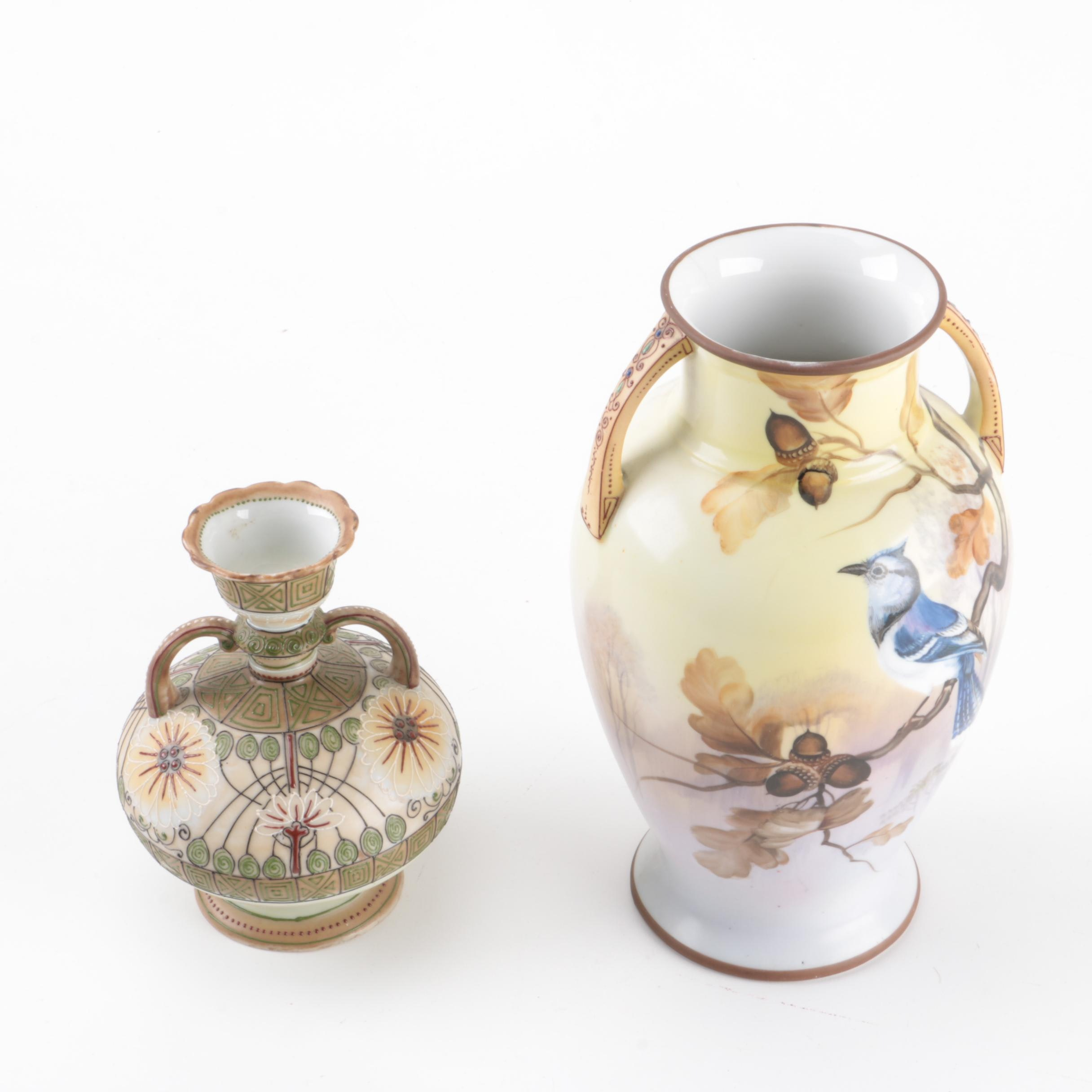 Hand Painted Nippon Vases