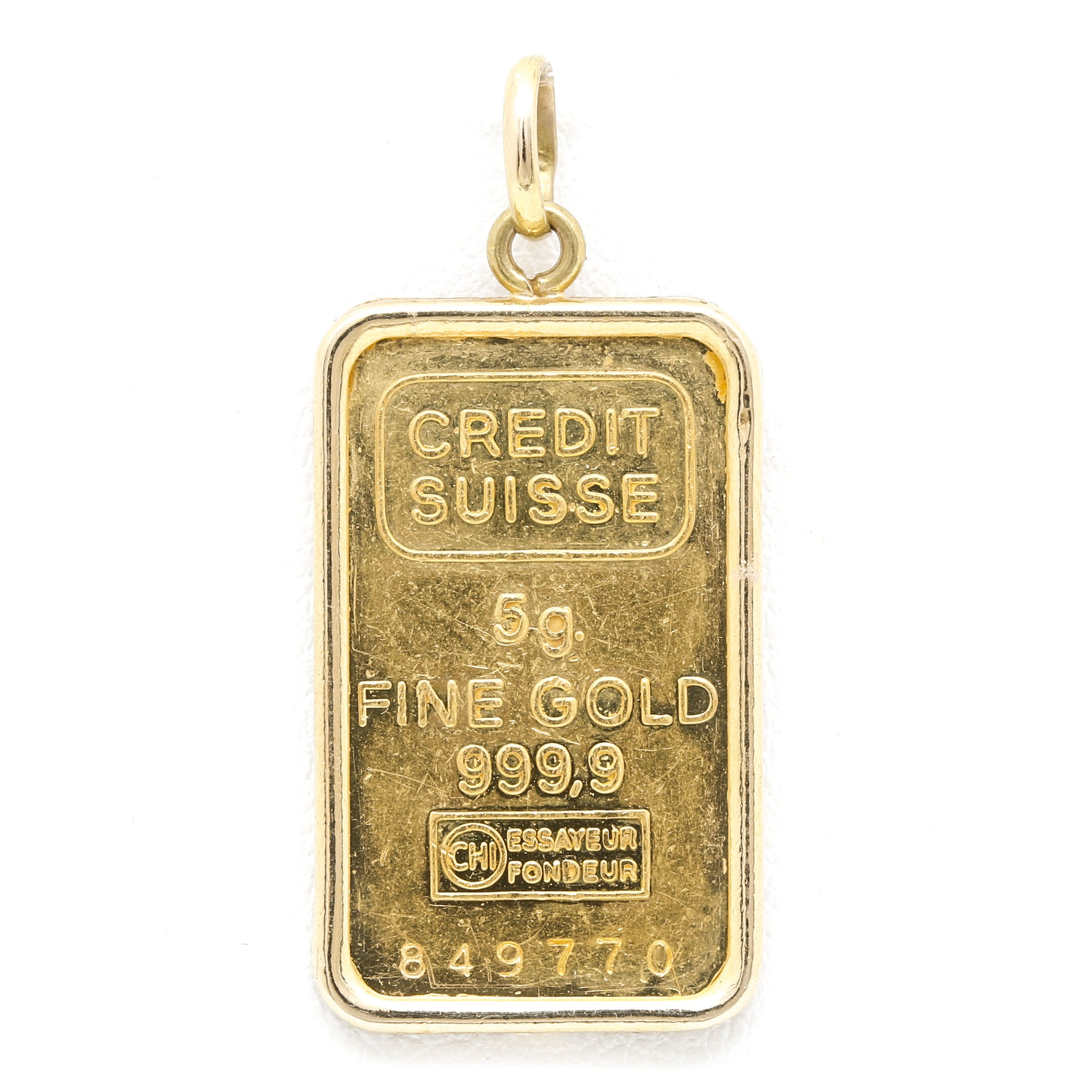 18K Yellow Gold Pendant With Credit Suisse 5 Gram Fine Gold Ingot