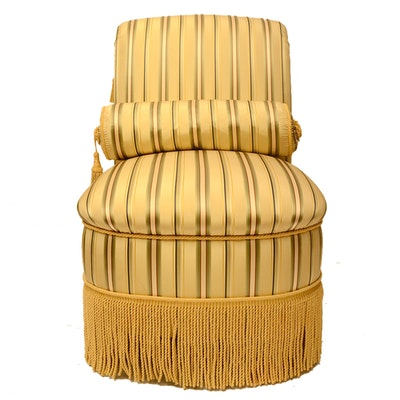 Yellow Stripe Upholstered Chair