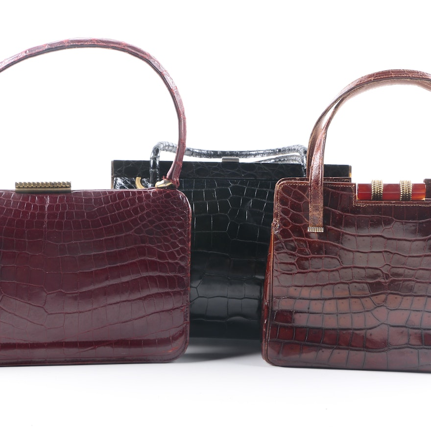 Vintage Crocodile Handbags Including Loewe And Sacha