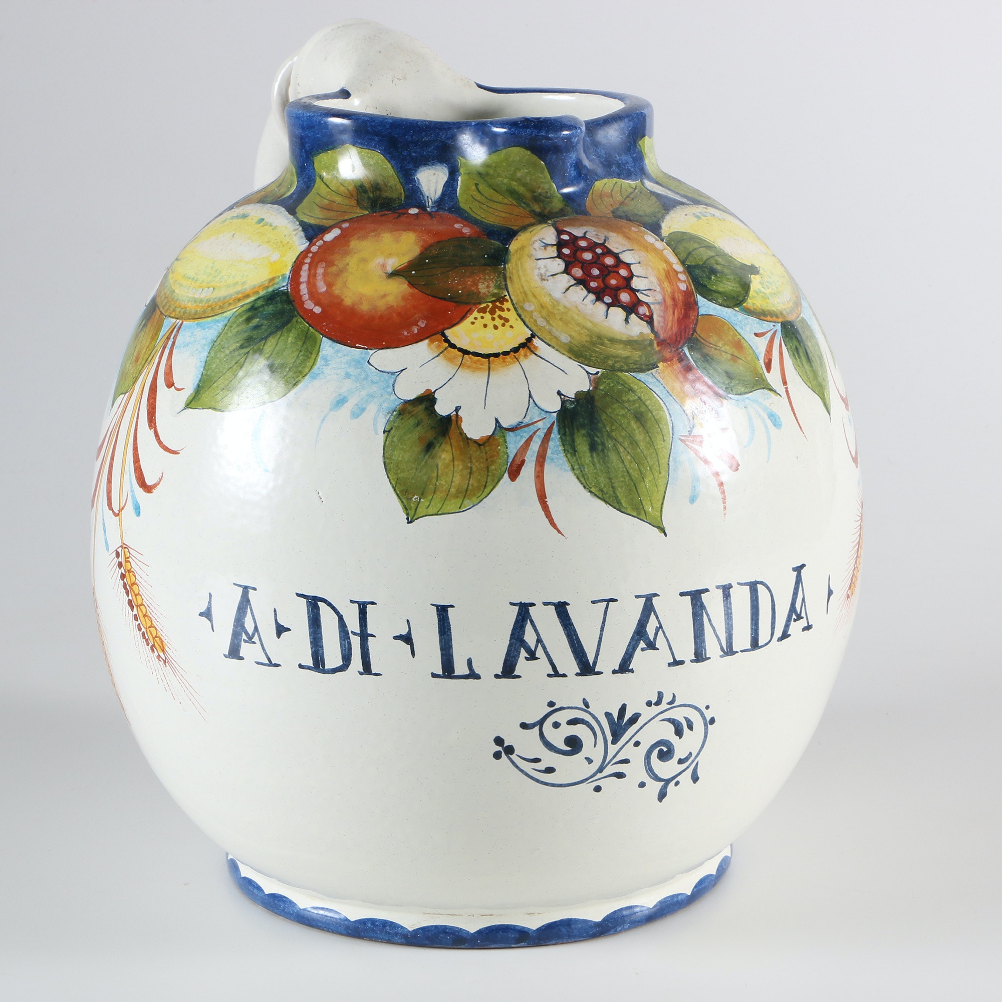 Italian Hand Painted Ceramic Jug With Floral and Fruit Designs