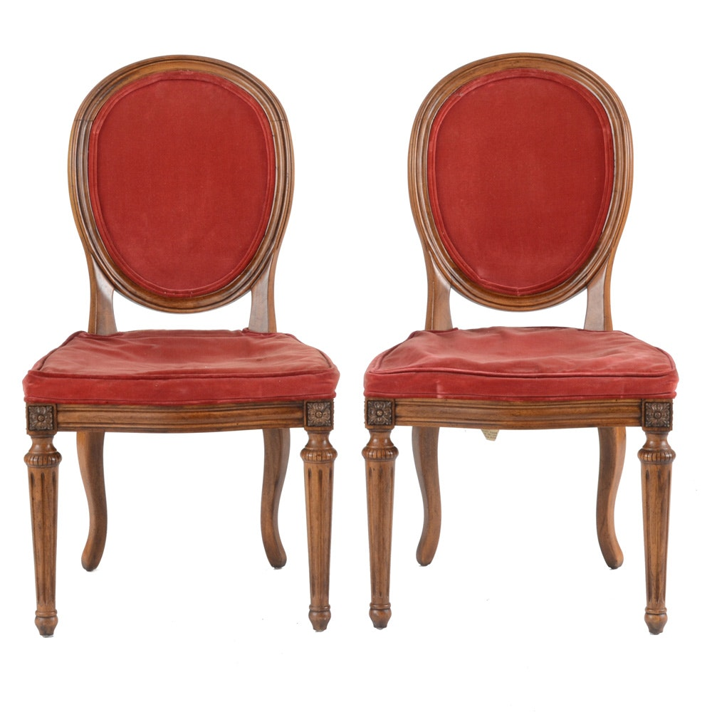 Vintage Louis XVI Style Balloon Back Side Chairs