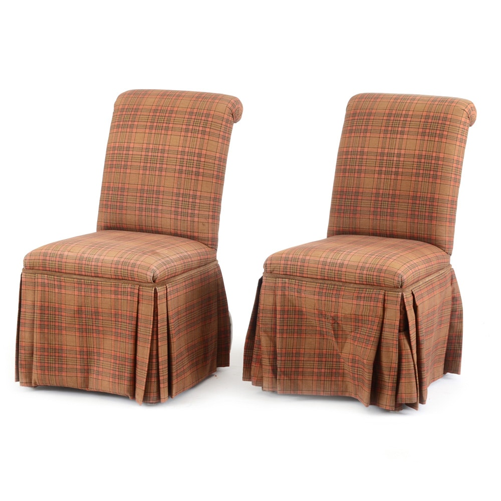 Pair Of Red Plaid Upholstered Chairs ...