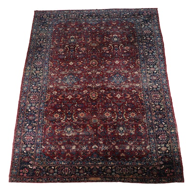 Signed, Semi-Antique Hand-Knotted Sarouk Palace Sized Area Rug