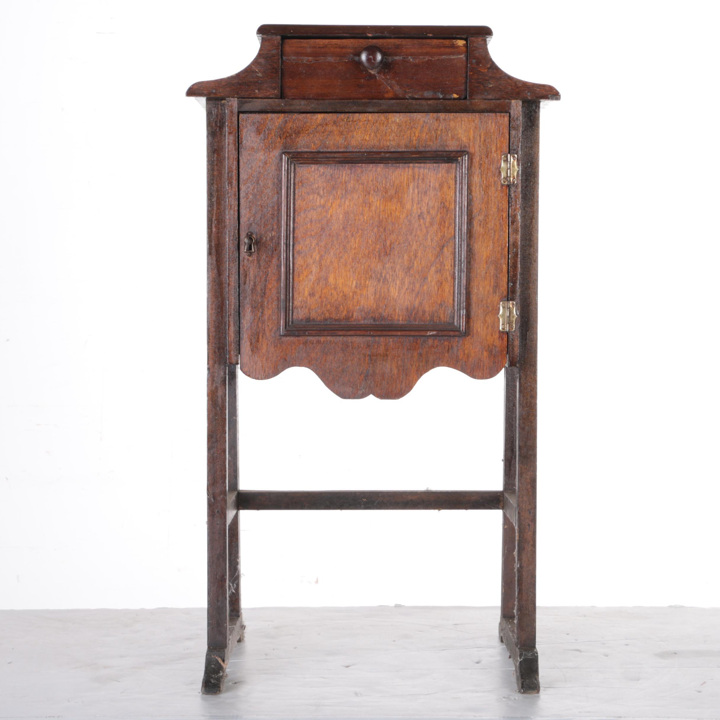 Vintage Smoking Cabinet with a Mahogany Finish