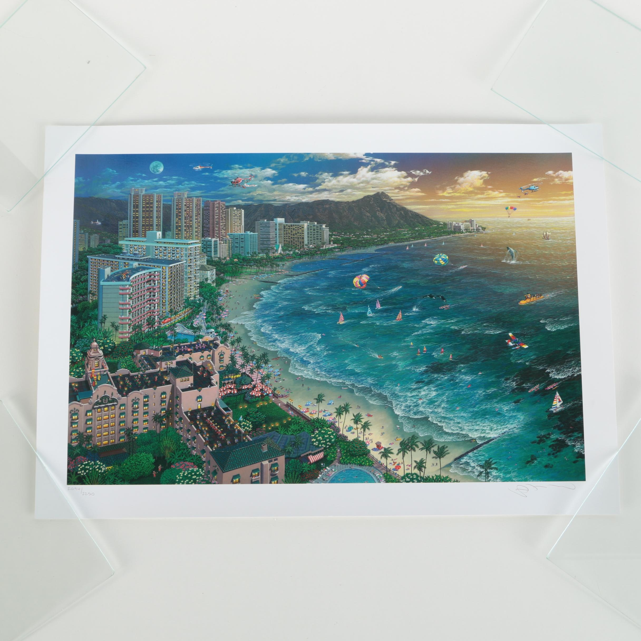 "Alexander Chen Signed Limited Edition Offset Lithograph on Paper ""Hawaiian Sunset"""