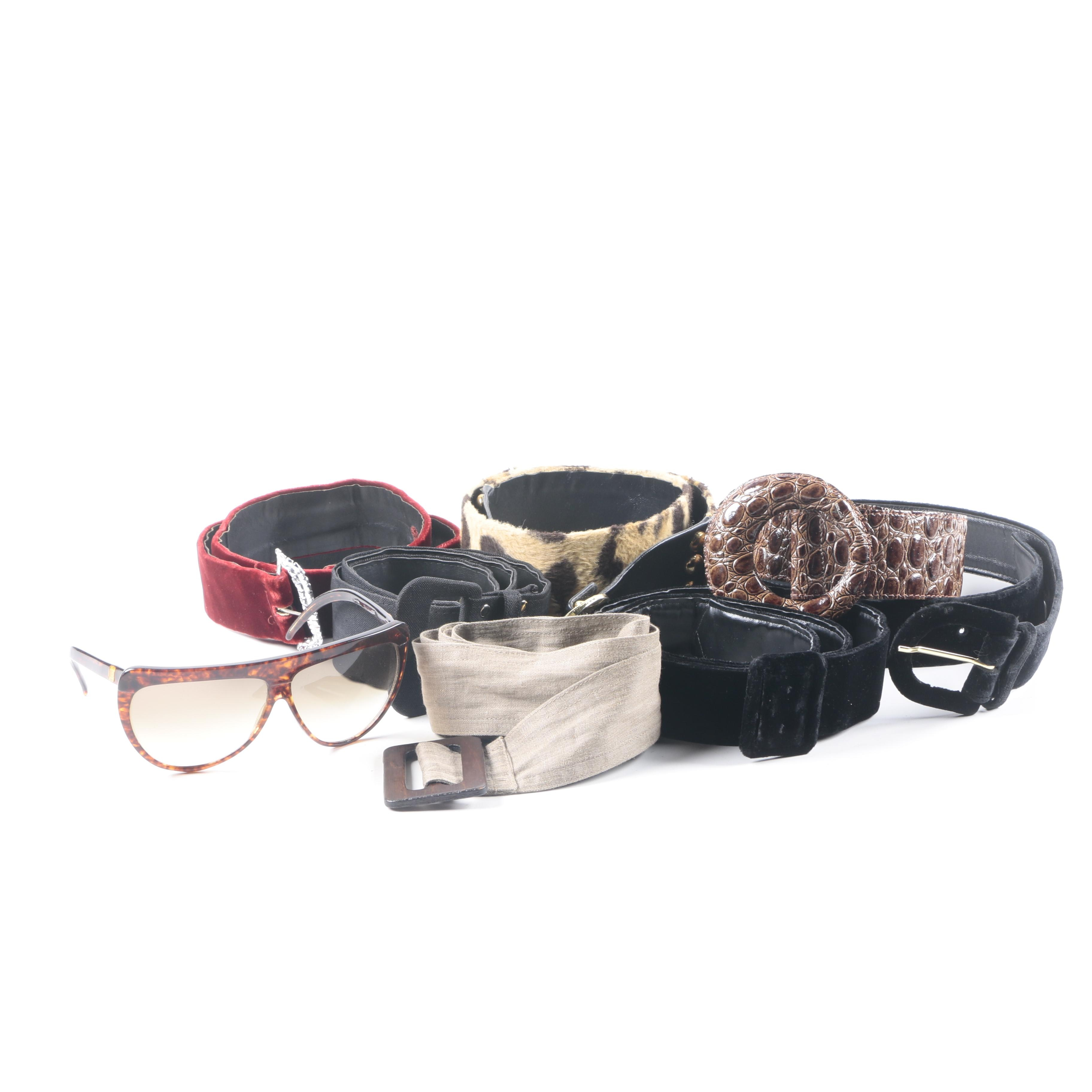 Belts and Pair of Sunglasses
