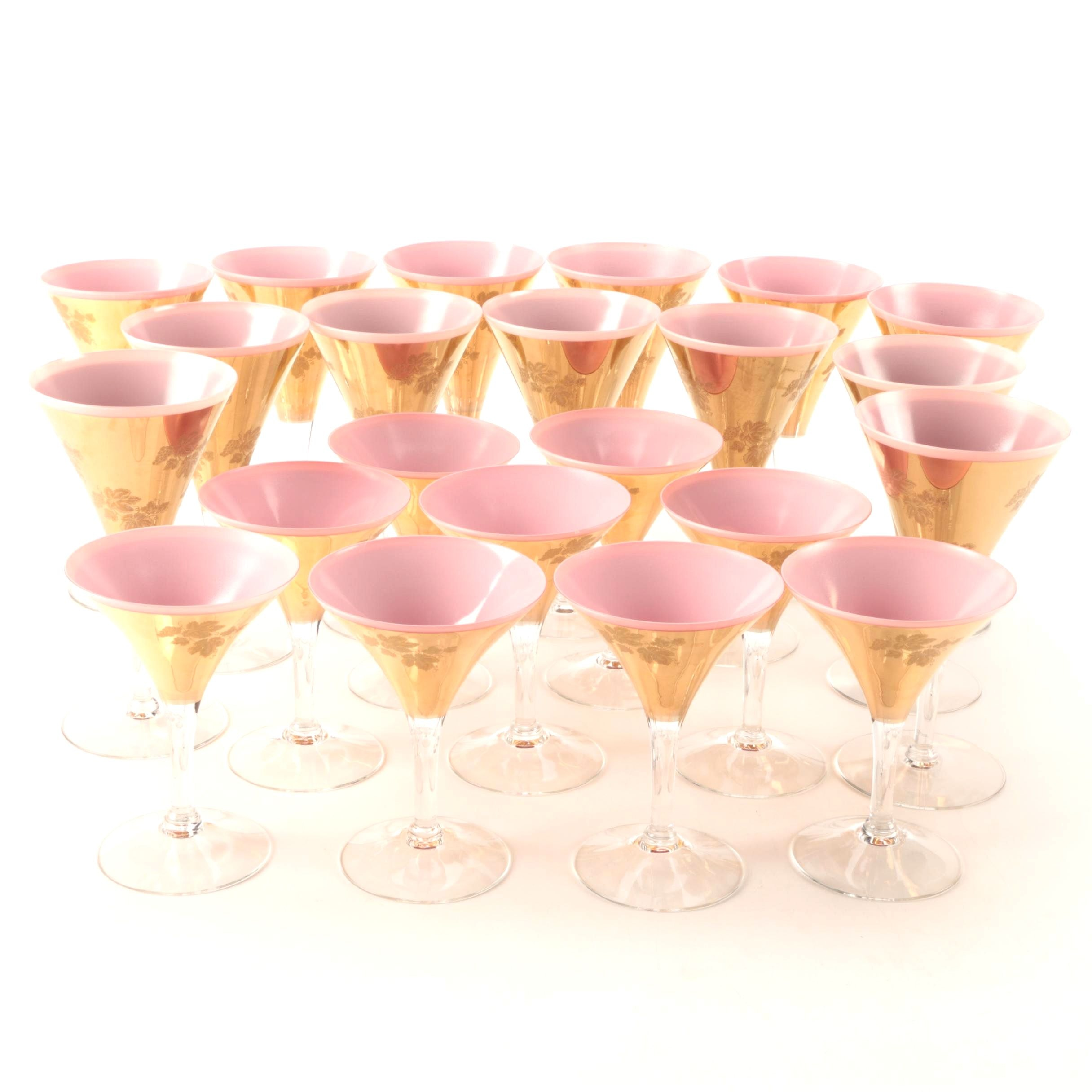 Mid-Century Pink and Gold Martini Glasses and Stemware