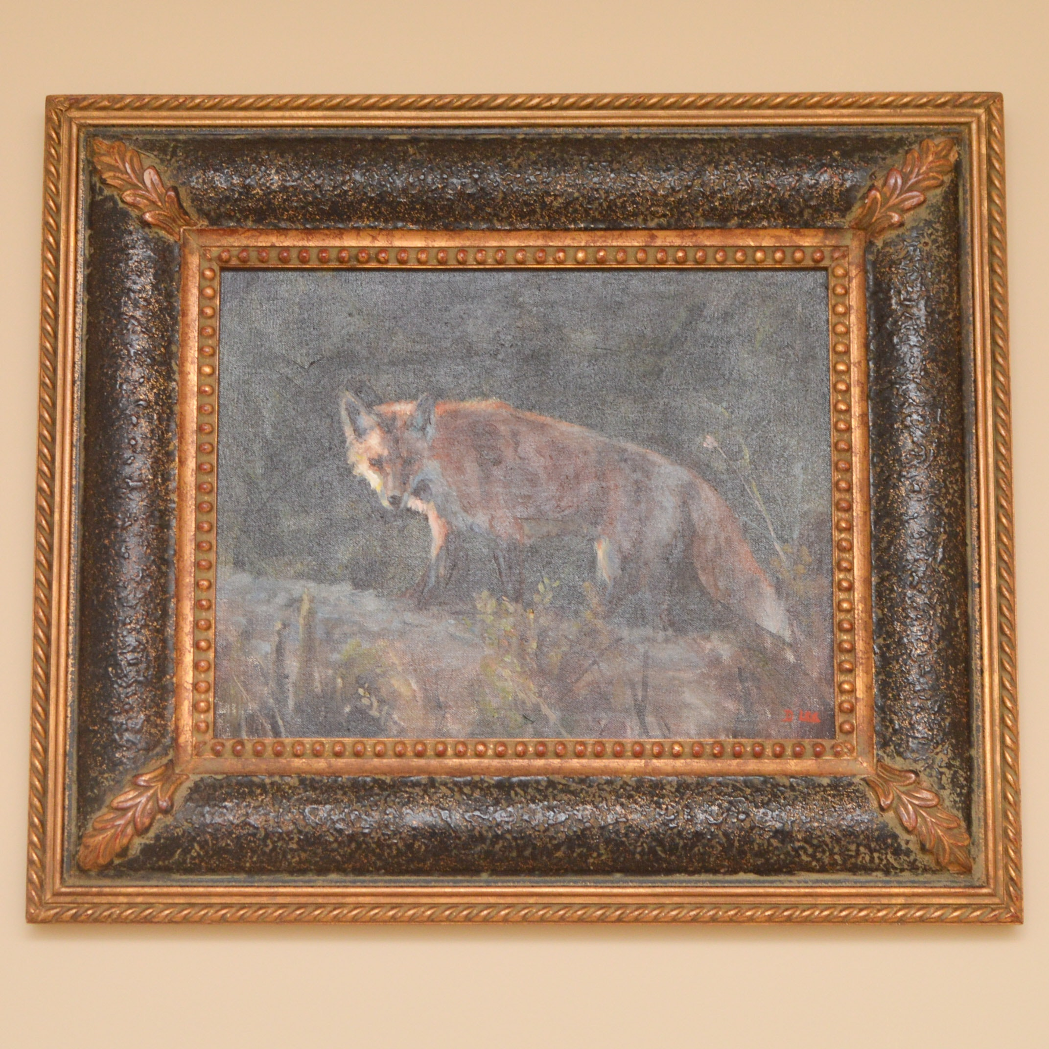 D. Lee Framed Original Oil on Canvas Board of Fox at Night