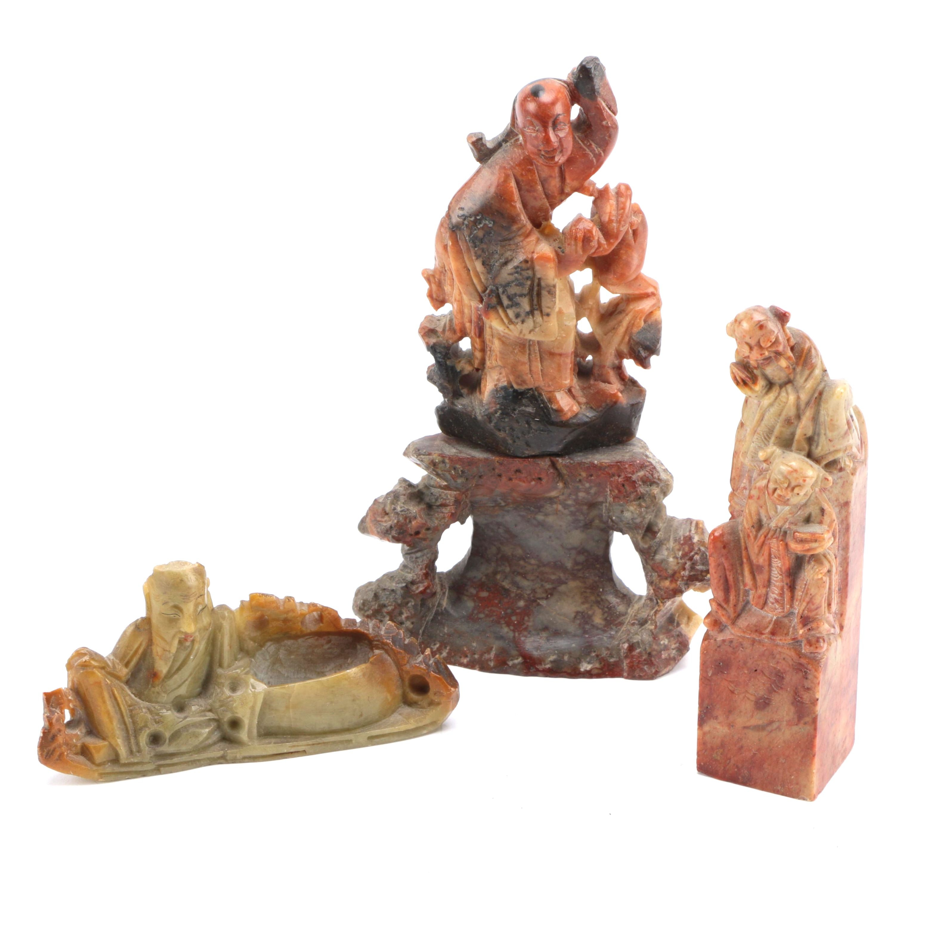 Asian Inspired Carved Soapstone Figurines