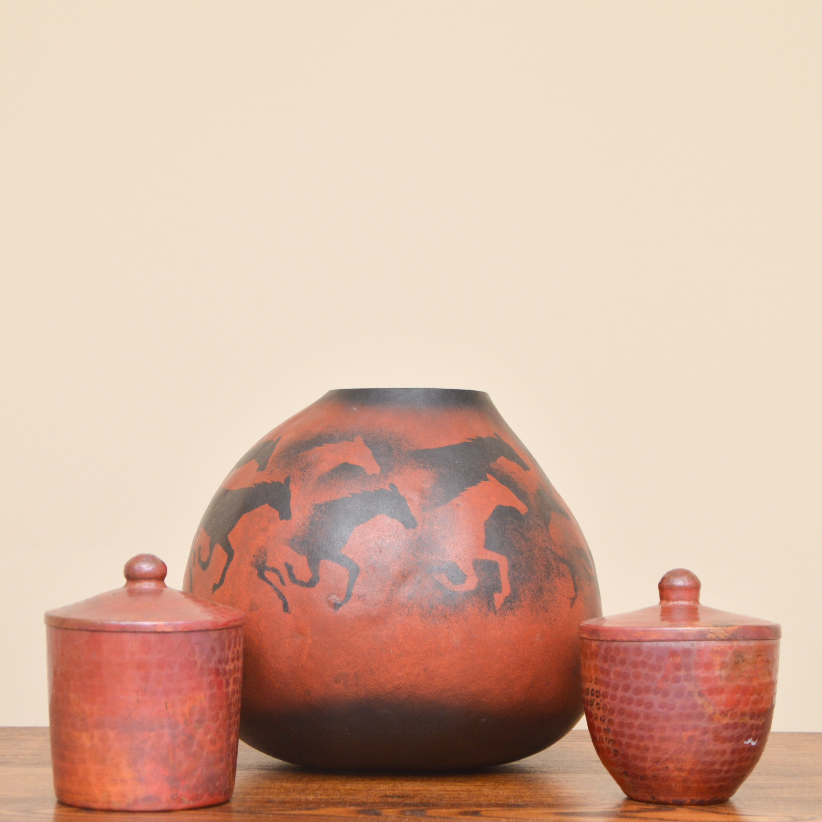 "Hand-Painted ""Wild Horse"" Gourd and Decorative Containers"