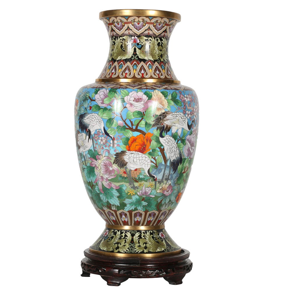 Large Chinese Cloisonné Vase with Stand