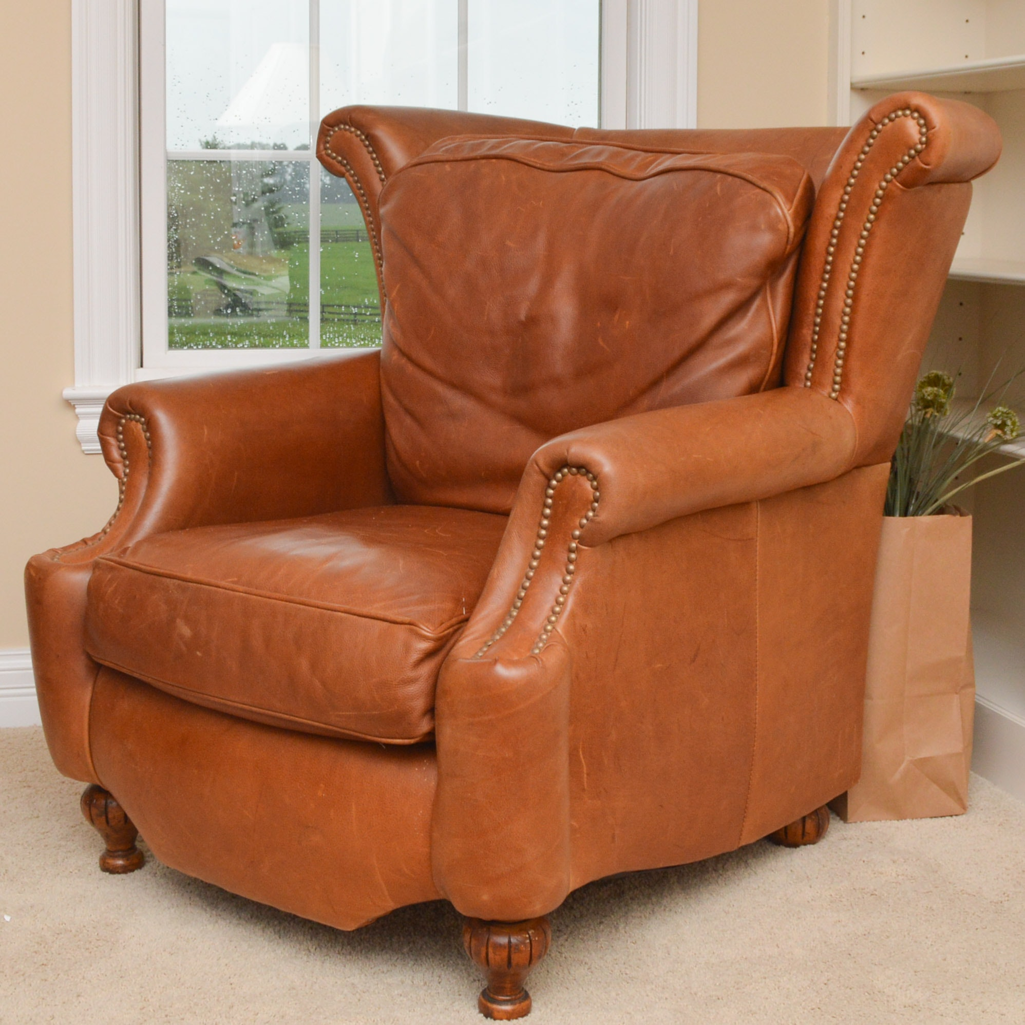 Tan Leather Armchair with Brass Rivets
